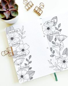 These minimalist bullet journal weekly spreads will inspire you to make your own bujo page! The minimalistic black and white spreads are an inspiration. Bullet Journal Spreads, How To Bullet Journal, Bullet Journal Writing, Bullet Journal Aesthetic, Bullet Journal School, Bullet Journal Layout, Bullet Journal Inspo, Bullet Journal Lines, Art Journal Pages