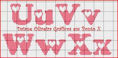 Letras com coração/4 Cross Stitch Love, Cross Stitch Alphabet, Cross Stitch Patterns, Plastic Canvas Letters, Crochet Letters, Knitted Washcloths, Hama Beads Patterns, Letter Patterns, Alphabet And Numbers