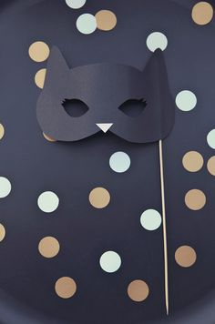 Black cat party mask photobooth prop