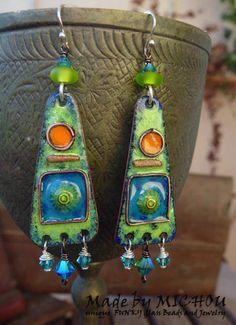 Earrings Morroco Copper Enamel Art lampwork beads by MichouJewelry, $79.00