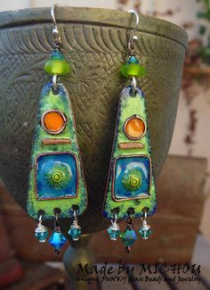Earrings Morroco Copper Enamel Art lampwork beads by MichouJewelry, $79.00