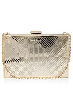 Gold Metallic Box Clutch Bag