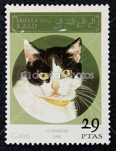 Postage stamp with the image of the cat. Sahrawi Arab Democratic Republic (Sahara), 1995. — Stockbeeld #19403943