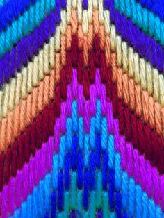 Bargello Needlepoint or Florentine Long stitch Original handmade in Spring 2018 in a striking zig zag design in multicolours - blue yellow orange green Traditional popular Bargello Flame stitch design taking about 40 hours work to complete acrylic (vegan) wool on hessian canvas