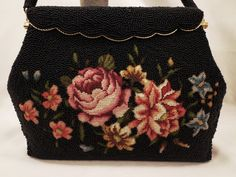 Vintage Large Black Beaded Purse With Floral Embroidery