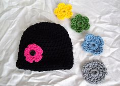 crochet hat with interchangeable flowers by knitsandknacks on Etsy, $20.00