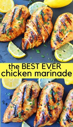 The Best Chicken Marinade Recipe makes chicken extra juicy and flavorful. This savory marinade makes grilled chicken mouthwatering! This Grilled Chicken Marinade Recipe is made with extra virgin olive oil, freshly squeezed lemon juice, balsamic vinegar, s Perfect Grilled Chicken, Chicken Marinade Recipes, Marinade Sauce, Best Chicken Recipes, Grilling Recipes, Cooking Recipes, Perfect Chicken, Grilled Chicken Marinades, Lemon Garlic Chicken Marinade