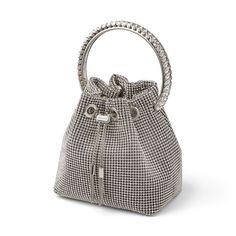 Jimmy Choo, Bucket Bag, Latest Trends, Mesh, Handbags, Chain, Crystals, Fit, Silver
