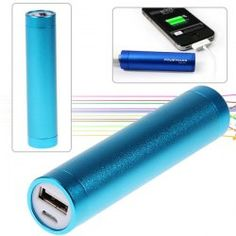 2600mAh Aluminum Tubes Cylindrical Mobile Power for iPhone 4/4S, 3GS/3G, iPod, Digital Devices, etc (Blue)