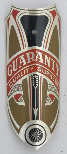 Guaranty Bicycle Head Badge bike Name Plate antique original old vintage in Bicycle Parts | eBay