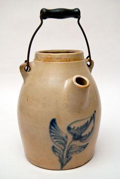 Whites Utica NY Blue Decorated Stoneware Batter Jug Circa 1850-1870
