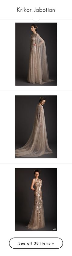 """""""Krikor Jabotian"""" by princess-of-asgard ❤ liked on Polyvore featuring princess, Gowns, asgard, AsgardCollection, Krikor, dresses, gowns, gold evening gowns, brown dress and gold dress"""