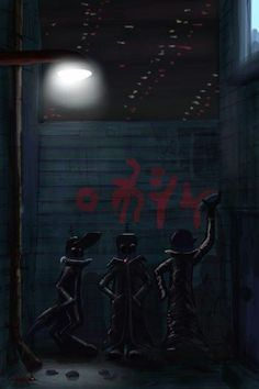 Another drawing I did on my phone using the brushes program. It's a group of gangster aliens in a back alley. Took me about an hour all up to create.