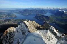 """View over the """"Vierwaldstättersee"""" from an airplane Beautiful Places, Beautiful Pictures, Seen, Travelogue, Switzerland, Landscape Photography, Scenery, Hiking, Cityscapes"""
