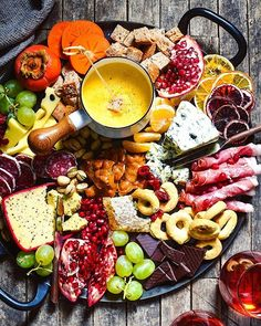 Winter Cheese Board With German Beer Cheese Fondue via @feedfeed on https://thefeedfeed.com/party-platters/foxeslovelemons/winter-cheese-board-with-german-beer-cheese-fondue