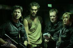 Still of Joe Flanigan, David Hewlett, Rachel Luttrell and Jason Momoa in Stargate: Atlantis