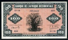 100 French West African Francs banknote of 1942, issued  during World War II by the Bank of West Africa ( Banque de l'Afrique Occidentale ). French West Africa banknotes, French West Africa paper money, French West Africa bank notes.  Obverse: Big Baobab Tree - Africa is symbolized by these magnificent trees. Reverse: Straw huts and palm trees. Printed by the E.A. Wright Bank Note Company in Philadelphia.