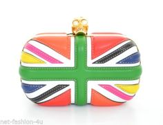 ALEXANDER-McQUEEN-LIMITED-EDITION-MULTI-COLOUR-BRITANNIA-SKULL-BOX-CLUTCH-BAG Union Jack, Pink Leather, Patent Leather, Alexander Mcqueen Handbags, Unique Fashion, Clutch Bag, Clutches, Swarovski Crystals, Coin Purse
