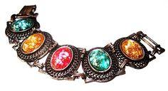 Art Deco Link Bracelet Confetti Colorful Art Glass Stones