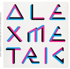 Alex Metric Head Straight LP cover design, impossible shapes letters, optical illusion lettering