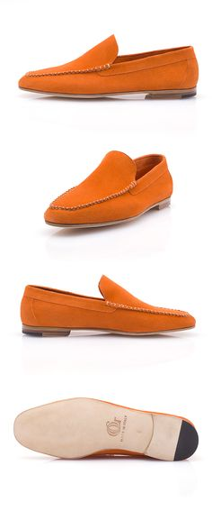 The Porto Cervo is a stylish and colorful Venetian loafer designed to accompany you in your summer getaways. Made of calf buckskin, the Porto Cervo is an extremely comfortable moccasin that you can perfectly wear sockless. Venetian, Moccasins, Loafers Men, Calves, Oxford Shoes, Dress Shoes, Colorful, Orange, Luxury
