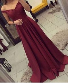 Burgundy Prom Dress, Off The Shoulder Prom Dress, Simple Party Dress Long, Elegant Evening Gown, Long Prom Dresses Fall Bridesmaid Dresses, Prom Dresses 2018, Cheap Prom Dresses, Dresses For Teens, Sexy Dresses, Beautiful Dresses, Party Dresses, Dress Prom, Prom Gowns