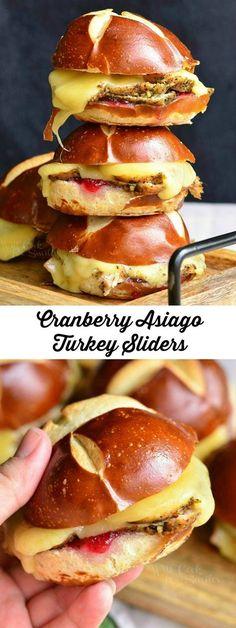 Cranberry Asiago Turkey Sliders | from willcookforsmiles.com #sandwich #turkey