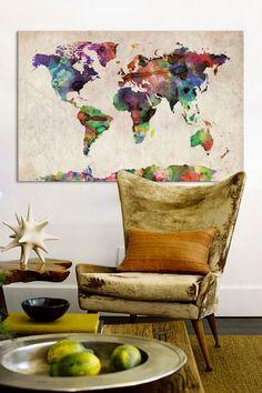 World Map Urban WatercoloreII by Michael Tompsett Canvas Print