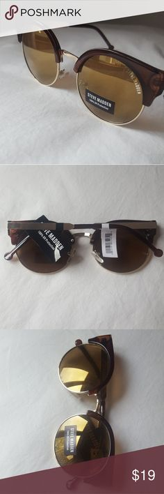 Steve Madden Sunglasses NWT Round clubmaster sunglasses. Brown and gold frames with brown tinted lenses. Steve Madden Accessories Sunglasses