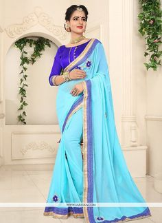 This blue faux georgette classic saree is including the appealing glamorous displaying the sense of cute and graceful. The ethnic embroidered and lace work for the apparel adds a sign of magnificence ...