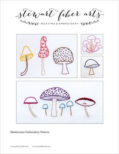 Embroidery PATTERN: Mushrooms - instant download - hand drawn - perfect for nursery and kitchen decor, home decor - super cute