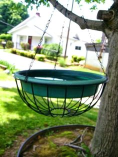diy hanging bird bath feeders baths that look like baskets new best images on home improvement contractor Hanging Bird Bath, Diy Hanging, Hanging Plants, Hanging Bird Feeders, Bird Bath Garden, Diy Bird Bath, Homemade Bird Baths, Glass Garden, Bird House Feeder