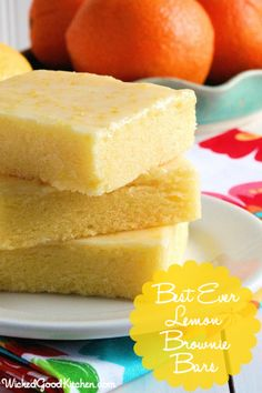 Best Ever Lemon Brownie Bars by WickedGoodKitchen.com ~ Fudgy, lemony and irresistible! The texture of these citrus bars is very similar to brownies and the glaze is like pure sunshine. Perfect for summer entertaining and picnics! Includes gluten free option. #easy #bar ##dessert #recipe