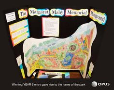 (Margaret Mahy playground 兒童遊戲場設計比賽的第一名作品,後來也依此命名並將畫作意象繪製在遊戲場牆上。來源:眼底城事)