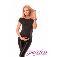 2 IN 1 MATERNITY AND NURSING TOP 7006 BLACK Maintain your pre-bump style throughout your pregnancy and breastfeeding with fashionable and affordable 2 in 1 maternity and nursing top. This short sleeve 2 in 1 top has been designed by Purpless to give you comfort and style during your pregnancy and whilst breastfeeding without spending too much on your pregnancy and post pregnancy wardrobe.