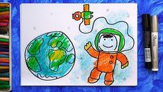 Как нарисовать Космонавта в Космосе, Урок рисования для детей