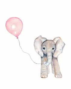 Elephant with Pink Balloon Nursery print- 8 X 10 inch also one with a yellow balloon