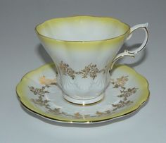 Royal Albert Yellow and White Tapered Tea Cup and Saucer | eBay