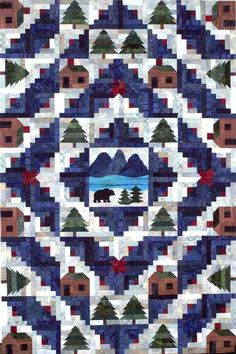 Log Cabin quilt with real log cabins, quilts sweet quilts- quilt inspiration Log Cabin Quilt Pattern, Log Cabin Quilts, Barn Quilts, Log Cabins, Western Quilts, Panel Quilts, Quilt Blocks, 24 Blocks, Quilting Projects