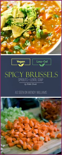 Spicy Brussels Sprout + Lentil Soup!! Chipotles, lentils, shredded brussels, carrots and celery make for an outrageously good vegan and vegetarian soup. Topped with avocado and lime. Comfort food that seriously healthy and low-cal.