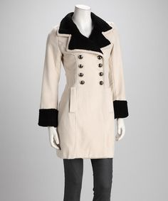 Take a look at this Cream & Black Peacoat by Warm For Winter: Women's Coats on #zulily today!