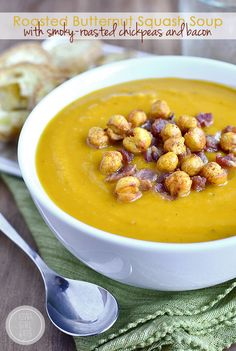 Roasted Butternut Squash Soup with Smoky-Roasted Chickpeas and Bacon #glutenfree | iowagirleats.com