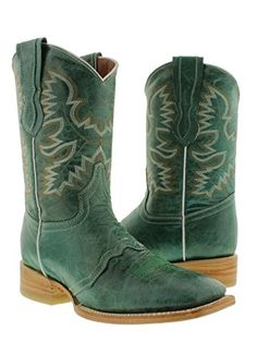 Cowboy Professional  Women s Turquoise Green Mid Calf Leather Cowboy Boots Square Toe 6 BM ** Read more reviews of the product by visiting the link on the image.(This is an Amazon affiliate link)
