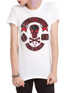 """Fitted white tee with All Time Low """"A Love Like War"""" design."""