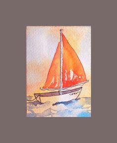 ACEO marine art sailboat painting Little Dream Boat by DreamON