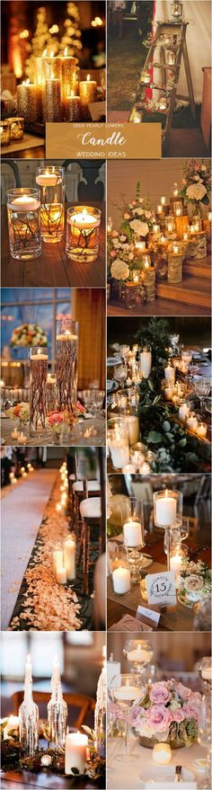 Rustic country candle wedding centerpiece decor ideas  / http://www.deerpearlflowers.com/rustic-wedding-themes-ideas/