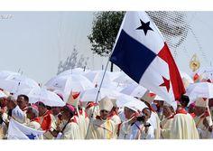 Clergy under Panama's flag celebarate Panama for hosting the next Catholic World Youth Days, on July 31, 2016 at Campus Misericordiae…