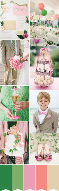 Think pretty shades of pink and coral paired with light and fresh shades of green and fun design details such as chevrons, stripes, polka dots and plaid to create this summer wedding look...