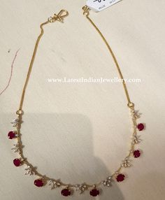 Diamond Necklace Under - Latest Indian Jewellery Designs Pearl Necklace Designs, Jewelry Design Earrings, Gold Earrings Designs, Gold Jewellery Design, Simple Necklace Designs, Ruby Jewelry, India Jewelry, Bead Jewellery, Bridal Jewellery