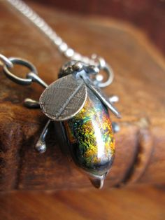 Handcrafted Unique Solid Silver and Dichroic Glass Bug Pendant - Orange & Green Winged Bug on Sterling Silver Chain - Fully UK Hallmarked on Etsy, $88.98